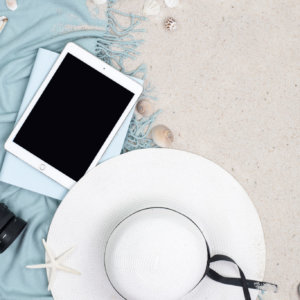 Ipad+Seashells+Flatlay