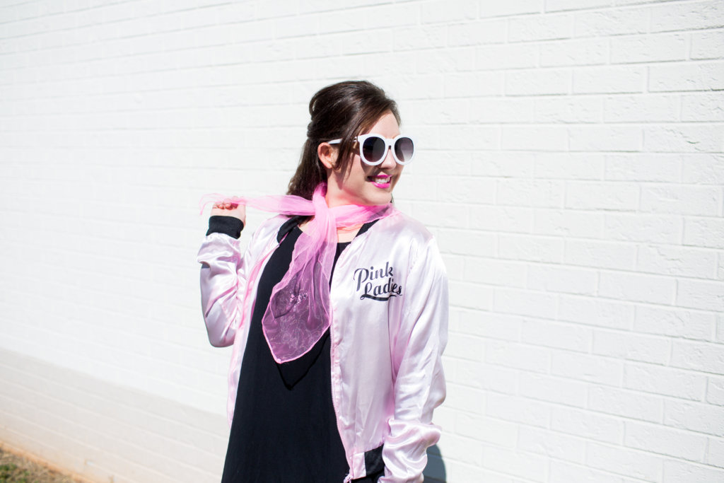 A Simple Modest Pink Lady Halloween Costume perfect for your day at the office